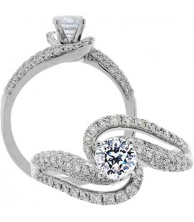 Rings - 1.04 Carat Round Brilliant Pristine Hearts Diamond Ring 18Kt White Gold