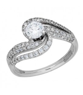 1.04 Carat Round Brilliant Pristine Hearts Diamond Ring 18Kt White Gold