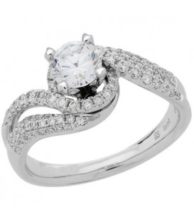 1.33 Carat Round Brilliant Diamond Ring 18Kt White Gold