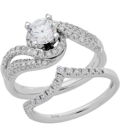 Rings - 1.30 Carat Eternitymark Diamond Bridal Set 18Kt White Gold