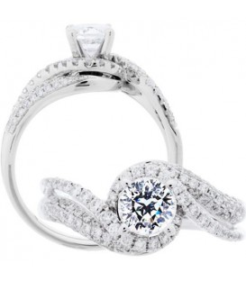 Rings - 1.33 Carat Round Brilliant Pristine Hearts Diamond Ring 18Kt White Gold