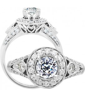 Rings - 1 Carat Round Brilliant Pristine Hearts Diamond Ring 18Kt White Gold