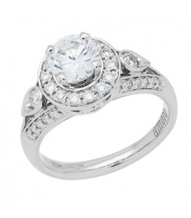 1 Carat Round Brilliant Pristine Hearts Diamond Ring 18Kt White Gold