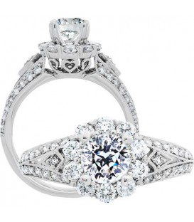 Rings - 1.37 Carat Round Brilliant Pristine Hearts Diamond Ring 18Kt White Gold