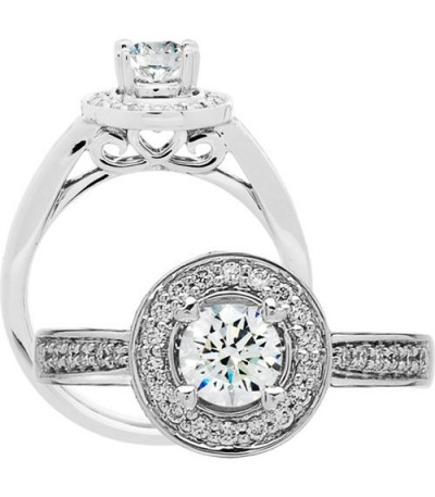 Rings - 0.76 Carat Round Brilliant Diamond Ring 18Kt White Gold