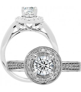 Rings - 0.77 Carat Round Brilliant Eternitymark Diamond Ring 18Kt White Gold