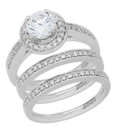 Rings - 1.02 Carat Round Brilliant Eternitymark Diamond Ring Bridal Set 18Kt White Gold