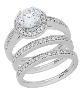 More about 1.02 Carat Round Brilliant Eternitymark Diamond Ring Bridal Set 18Kt White Gold