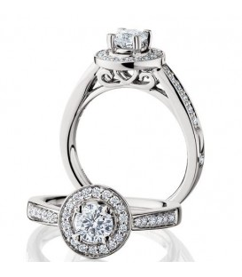 1.02 Carat Round Brilliant Eternitymark Diamond Ring Bridal Set 18Kt White Gold