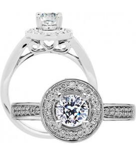 0.87 Carat Round Brilliant Pristine Hearts Diamond Ring 18Kt White Gold