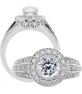 1.58 Carat Round Brilliant Pristine Hearts Diamond Ring 18Kt White Gold