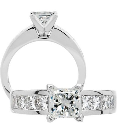 Rings - 1.91 Carat Princess Cut Diamond Ring 18Kt White Gold