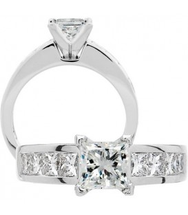 More about 1.91 Carat Princess Cut Diamond Ring 18Kt White Gold