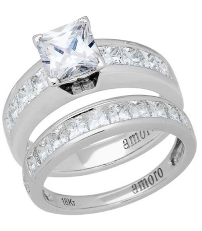 Rings - 1.96 Carat Eternitymark Diamond Bridal Set 18Kt White Gold