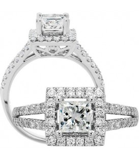 1.26 Carat Princess Cut Diamond Ring 18Kt White Gold