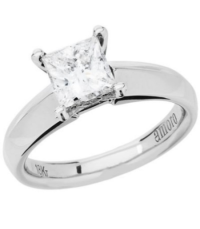 Rings - 1.28 Carat Princess Cut Diamond Ring 18Kt White Gold