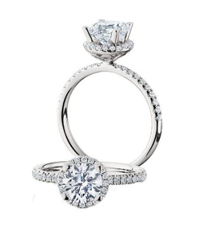 Rings - 1.30 Carat Round Brilliant Halo Diamond Ring 18Kt White Gold