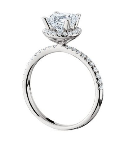 1.30 Carat Round Brilliant Halo Diamond Ring 18Kt White Gold