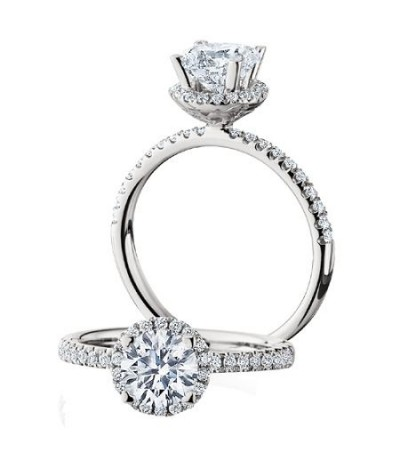 Rings - 1.04 Carat Round Brilliant Halo Diamond Ring 18Kt White Gold