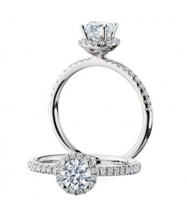 Rings - 0.77 Carat Round Brilliant Halo Diamond Ring 18Kt White Gold
