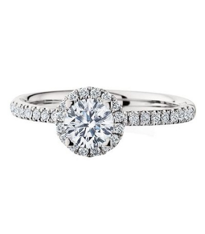 0.77 Carat Round Brilliant Halo Diamond Ring 18Kt White Gold