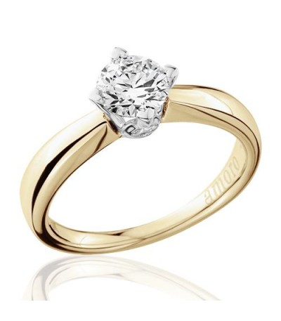 0.75 Carat Round Brilliant Diamond Solitaire Ring 18Kt Yellow Gold