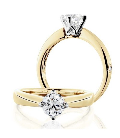 Rings - 0.75 Carat Round Brilliant Eternitymark Diamond Solitaire Ring 18Kt Yellow Gold