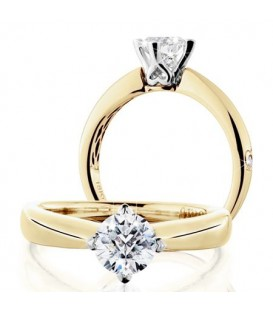 Rings - 0.75 Carat Round Brilliant Pristine Hearts Diamond Ring 18Kt Yellow Gold