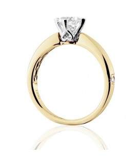 0.75 Carat Round Brilliant Pristine Hearts Diamond Ring 18Kt Yellow Gold