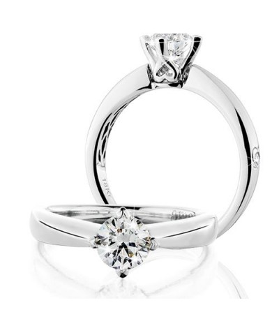 Rings - 0.75 Carat Round Brilliant Eternitymark Diamond Solitaire Ring 18Kt White Gold