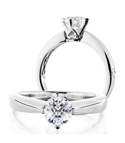 Rings - 0.75 Carat Round Brilliant Pristine Hearts Diamond Ring 18Kt White Gold