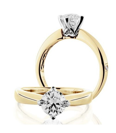 Rings - 1 Carat Round Brilliant Diamond Solitaire Ring 18Kt Yellow Gold