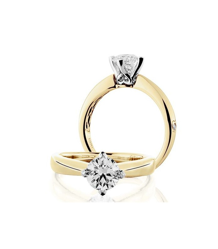 Round Brilliant 1Ct Diamond Ring 18Kt Yellow Gold | Amoro