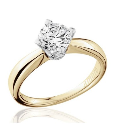 1 Carat Round Brilliant Diamond Solitaire Ring 18Kt Yellow Gold