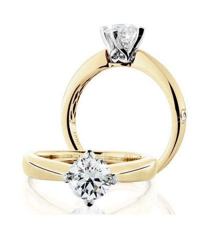 Rings - 1 Carat Round Brilliant Eternitymark Diamond Solitaire Ring 18Kt Yellow Gold