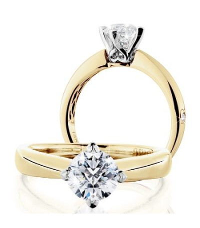 Rings - 1 Carat Round Brilliant Pristine Hearts Diamond Ring 18Kt Yellow Gold