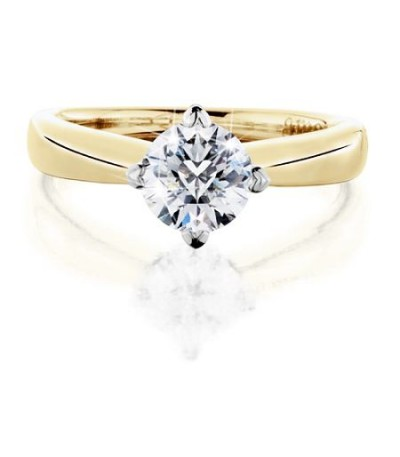 1.07 Carat Round Brilliant Pristine Hearts Diamond Ring 18Kt Yellow Gold