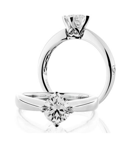 Rings - 1 Carat Round Brilliant Diamond Solitaire Ring 18Kt White Gold