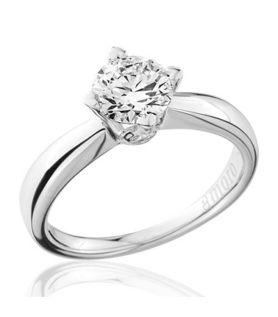 1 Carat Round Brilliant Diamond Solitaire Ring 18Kt White Gold