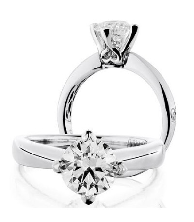 Rings - 1.50 Carat Round Brilliant Diamond Ring 18Kt White Gold