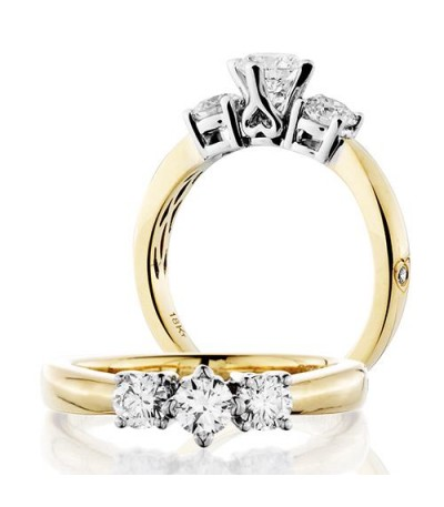 Rings - 0.50 Carat Round Brilliant Three Stone Diamond Ring 18Kt Yellow Gold