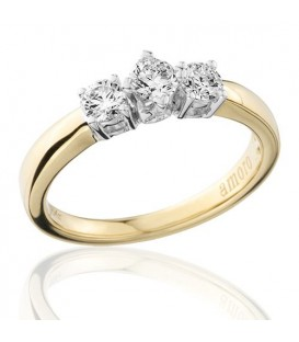 0.50 Carat Round Brilliant Three Stone Diamond Ring 18Kt Yellow Gold