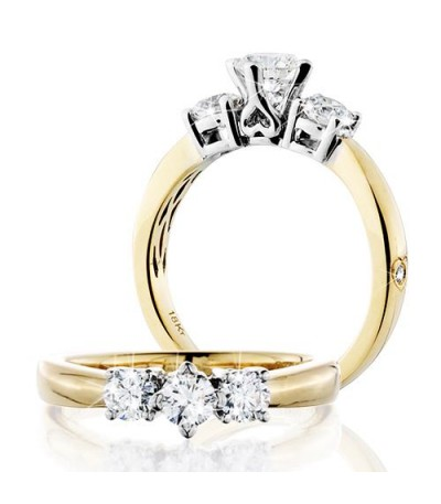 Rings - 0.50 Carat Round Brilliant Eternitymark Three Stone Diamond Ring 18Kt Yellow Gold