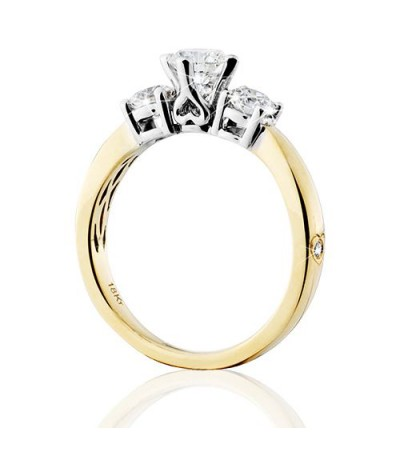 0.50 Carat Round Brilliant Eternitymark Three Stone Diamond Ring 18Kt Yellow Gold