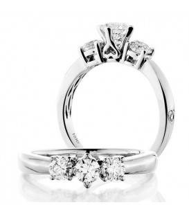 Rings - 0.50 Carat Round Brilliant Three Stone Diamond Ring 18Kt White Gold