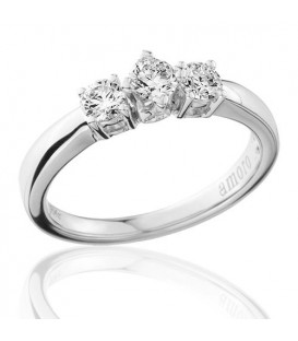 0.50 Carat Round Brilliant Three Stone Diamond Ring 18Kt White Gold