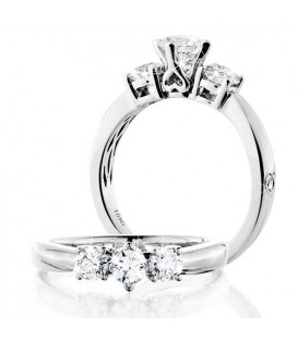 Rings - 0.50 Carat Round Brilliant Eternitymark Three Stone Diamond Ring 18Kt White Gold