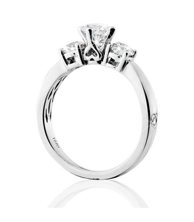 0.50 Carat Round Brilliant Eternitymark Three Stone Diamond Ring 18Kt White Gold