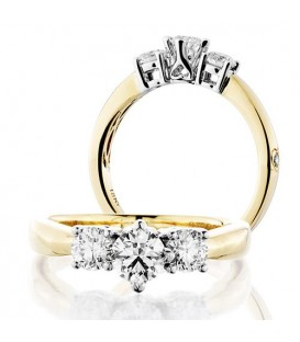 Rings - 1 Carat Round Brilliant Three Stone Diamond Ring 18Kt Two-Tone Gold