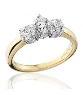 1 Carat Round Brilliant Three Stone Diamond Ring 18Kt Two-Tone Gold